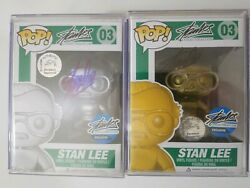 Funko pop! (Gold & Silver) Stan Lee Signature with Excelsior Approved sticker.