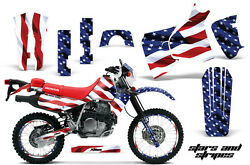 Decal Graphic Kit MX Sticker Wrap + # Plates For Honda XR650L 1993-2018 USA FLAG