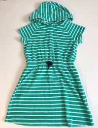 Hanna andersson girls beach towel dress green striped white size 8