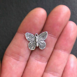 10 Butterfly Charms Antique Silver Tone 2 Sided SC318 $3.99