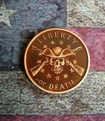 Challenge Coin EDC Worry - Antique Patina Liberty Death Skull Copper Poker Guard