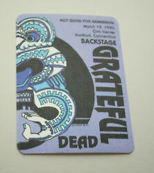 Grateful Dead Tour 1990 Hartford Ct. Rock Band Concert Back Stage Pass O