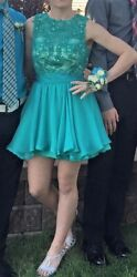 Short Cocktail Formal Green Teal Lace Rhinestone Prom Pageant Homecoming Dress $45.00