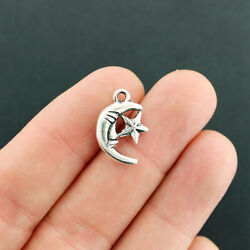 8 Crescent Moon Charms Antique Silver Tone 2 Sided With Star - SC1553 $3.49
