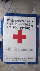 COLORFUL 1918 ANTIQUE PATRIOTIC WWI RED CROSS War Fund Poster GIVING LIFE Gift