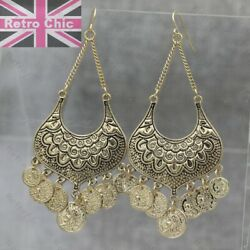 GYPSY CHANDELIER EARRINGS vintage gold tone coins boho FASHION big 3.5quot;long GBP 2.88