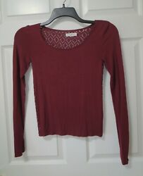 Aeropostale Burgundy Long Sleeve Shirt All Lace Back Junior#x27;s Size Small $9.95