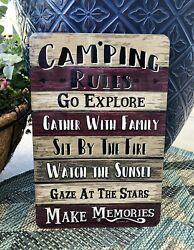 Camping Rules Metal Sign Camping Sign Camper Sign Outdoor Sign Home Decor