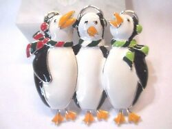 FEET DANGLE ARTICULATED PENGUIN TRIO SINGING EARMUFFS SCARFS COLORFUL ENAMEL