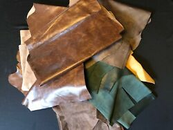 6 Pound Upholstery Mixed Larger Scrap Leather Pieces Mixed Colors and Weights $22.50