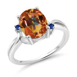 3.24 Ct Oval Ecstasy Mystic Topaz Blue Simulated Sapphire 925 Silver Ring