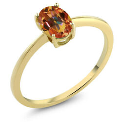 0.80 Ct Oval Ecstasy Mystic Topaz 10K Yellow Gold Solitaire Engagement Ring