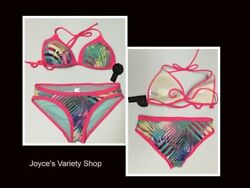 Women#x27;s Two Piece Swimwear Swimsuit Push Up Top Sz Lg 11 13 Bottom Sz M 7 8 $10.99
