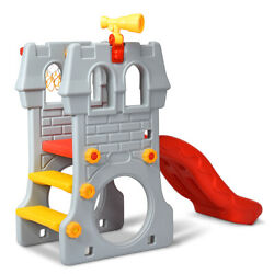 2-Step Children Castle Slide Play Slide with Basketball Hoop and Telescope Toy