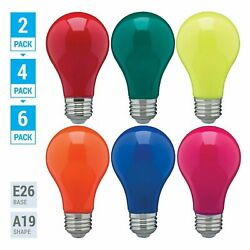 Pack LED BULB BLUE GREEN RED YELLOW ORANGE PINK A19 Medium E26 60W Watt Dimmable $10.95
