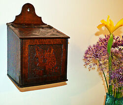 Late Georgian Oak Salt Box with Incised Cat decoration circa 1820