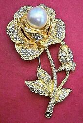 AC816* Large gold tone diamante rhinestone glass faux pearl rose flower brooch