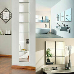 9 Pieces Self adhesive Mirror Tile 3D Wall Sticker Decal Mosaic Room Decor $4.67