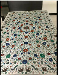 8'x4' dining coffee center marble Table Top Inlay green elephant malachite b19