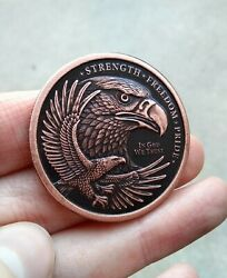 Challenge Coin EDC Worry Antique Patina Strength Freedom Eagle Copper Round Flag