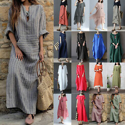 Women's Dresses Cotton Linen Maxi Dress Boho Loose Kaftan Tunic Baggy Plus Size