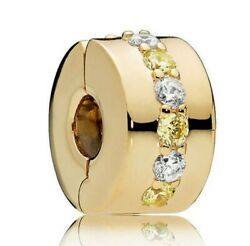 925 Sterling Silver Shining Path Clip Gold Plated Clear CZ Fit Charm Bracelet