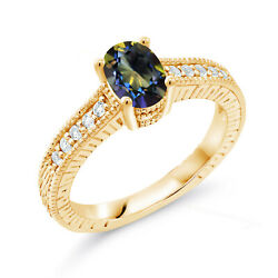 1.15 Ct Oval Blue Mystic Topaz White Topaz 18K Yellow Gold Plated Silver Ring