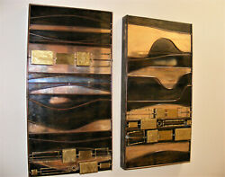 PAIR OF 2 MATCHING CURTIS JERE METAL Wall ART Sculptures Signed CUBIST BRUTALIST