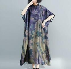 Womens Long Retro Summer Short Batwing Sleeve Printed Floral Oversize Dresses