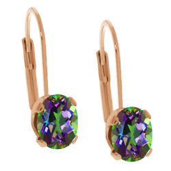 3.20 Ct Oval Green Mystic Topaz Rose Gold Plated Leverback Earrings 8x6mm