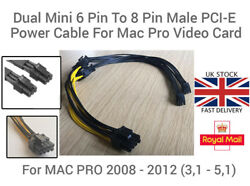 Dual Mini 6 Pin To 8 Pin Male PCI E Power Cable For Mac Pro Video Card 18 AWG UK GBP 19.95