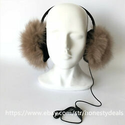 Double Side Fur Real Fox w inner rabbit Fur Earmuffs w Headset Earphone -Brown