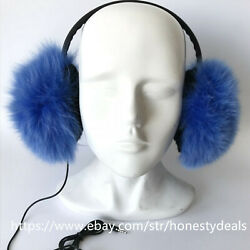 Double Side Fur Real Fox and inner rabbit Fur Earmuffs w Headset Earphone- Blue