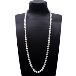 Fashion 8-9mm Near Round White Cultured Freshwater Pearl Endless Long Necklace