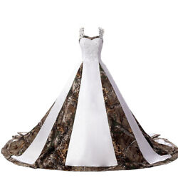 2021 Camouflage Wedding Dresses Satin White Camo Ball Gown Formal for Wedding $85.49