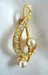 VTG 1950s 1960s Treble Clef Large Faux Pearls Diamante Gold Tone Brooch Pin