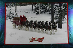 Budweiser Clydesdale Horses Dog Red Wagon Winter Picture Poster 24X36 NEW BUDW $17.95