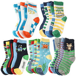 5 Pack Cotton Colorful Novelty Animals Car Sports Sea Crew Socks Toddler Kids $8.49
