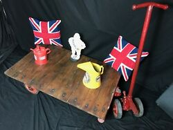 1 Industrial Vintage Railway Trolley Oak Iron Plank Top Coffee Table On Wheels