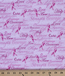 Cotton Pink Breast Cancer Words Calligraphy Bows Fabric Print by Yard D561.17 $11.49