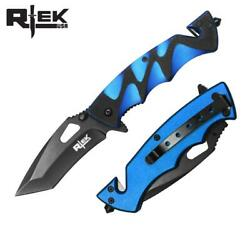 Spring Assist Folding Knife Black Tanto 3.5quot; Blade Rescue Tactical EDC Blue $9.44