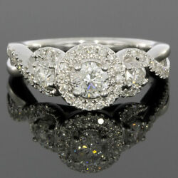 White Gold 1.00ct Round Diamond Halo Engagement Ring MSRP: $3500