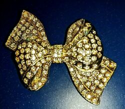 Gold Tone Large Crystal Bow Ladies Pin Brooch Diamante Crystals