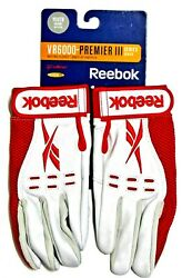 Batting Gloves Reebok Kids White w Red VR6000 Premier III size youth medium $11.90