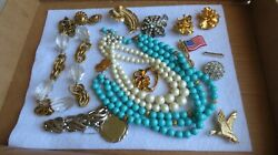 Vintage Jewelry Lot Necklace Brooch Brooches Pins Earrings Monet