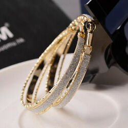 Wedding Party Women Large Round Circle Hoop Earring Gold Plated Jewelry Fashion