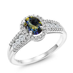 1.19 Ct Oval Blue Mystic Topaz White Created Sapphire 925 Sterling Silver Ring
