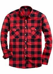 NEW Unisex Red Black Buffalo Plaid Shirt Long Sleeve Button Down Flannel S M L $9.99