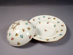 Minton Rose Pansy Forget Me Not Butter Cheese Dish Domed Lid  Mortlock's 1880