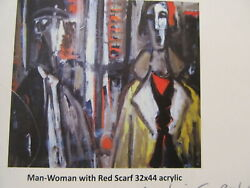 Original Pasquale Patrick Stigliani Man & Woman with Red Scarf Estate Stamped